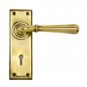 From The Anvil Newbury Lock Handles - Aged Brass
