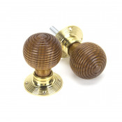 From The Anvil Beehive Knob Set - Rosewood & Polished Brass