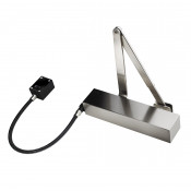 Exidor 9870 EN4 Hold Open / Free Swing E-Mag Door Closer - Square Cover - Satin Stainless Steel