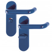 Hoppe Paris 21mmØ Return to Door Nylon Lever Handles on Bathroom Plate (57mm centres) - Cobalt Blue RAL5002