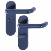 Hoppe Paris 21mmØ Return to Door Nylon Lever Handles on Bathroom Plate (57mm centres) - Midnight (Dark) Blue RAL5003