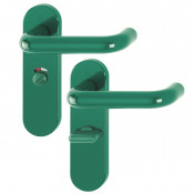 Hoppe Paris 21mmØ Return to Door Nylon Lever Handles on Bathroom Plate (57mm centres) - Green RAL6016