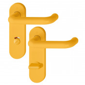 Hoppe Paris 21mmØ Return to Door Nylon Lever Handles on Bathroom Plate (78mm centres) - Yellow RAL1004
