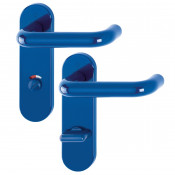 Hoppe Paris 21mmØ Return to Door Nylon Lever Handles on Bathroom Plate (78mm centres) - Cobalt Blue RAL5002