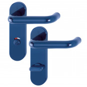 Hoppe Paris 21mmØ Return to Door Nylon Lever Handles on Bathroom Plate (78mm centres) - Midnight (Dark) Blue RAL5003