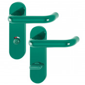 Hoppe Paris 21mmØ Return to Door Nylon Lever Handles on Bathroom Plate (78mm centres) - Green RAL6016