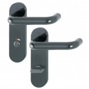 Hoppe Paris 21mmØ Return to Door Nylon Lever Handles on Bathroom Plate (78mm centres) - Anthracite Grey RAL7016
