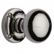 M.Marcus Victoria Mortice Knob Handles on Round Rose - Polished Nickel
