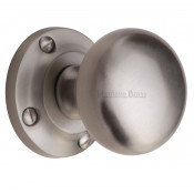 M.Marcus Victoria Mortice Knob Handles on Round Rose - Satin Nickel