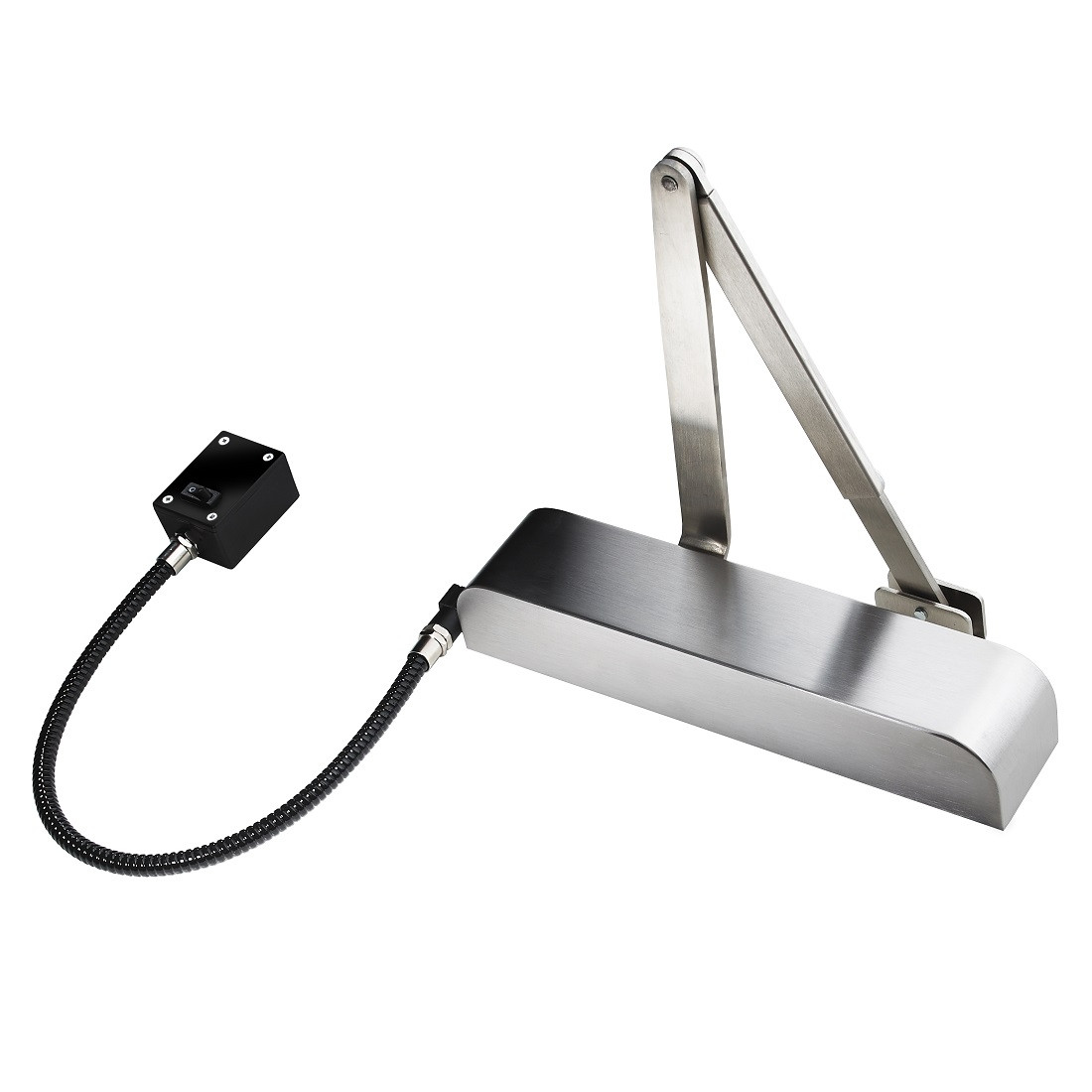 Exidor 9870 EN4 Hold Open / Free Swing E-Mag Door Closer - Radius Cover - Satin Stainless Steel