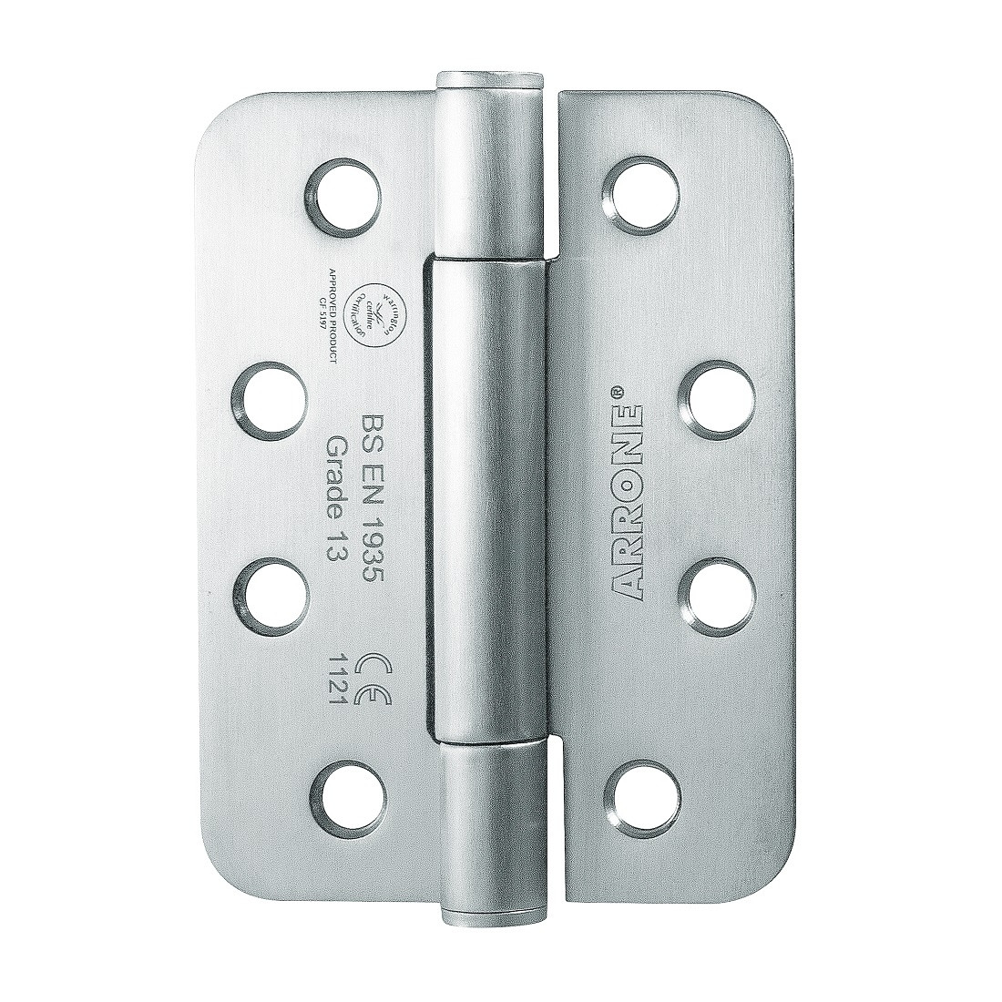 """Arrone 102x76mm (4"""" X 3"""") Grade 13 Concealed Bearing Butt Hinge with Radiused Corners (1.5 pair) - SSS"""