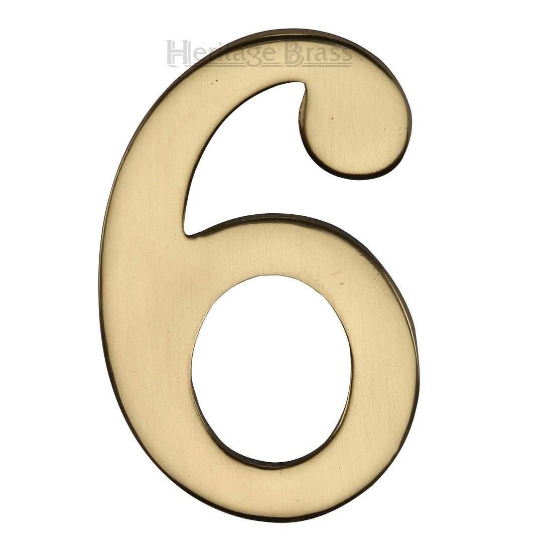 """M.Marcus Self Adhesive Numeral '6'  51mm (2"""") - Polished Brass"""