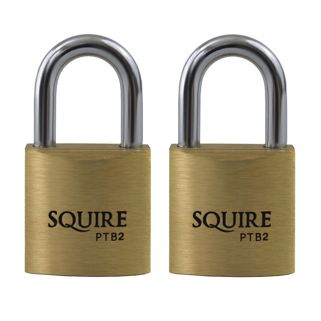 Squire Panther PTB2 Solid Brass Keyed Alike Twin Pack 20mm Padlocks