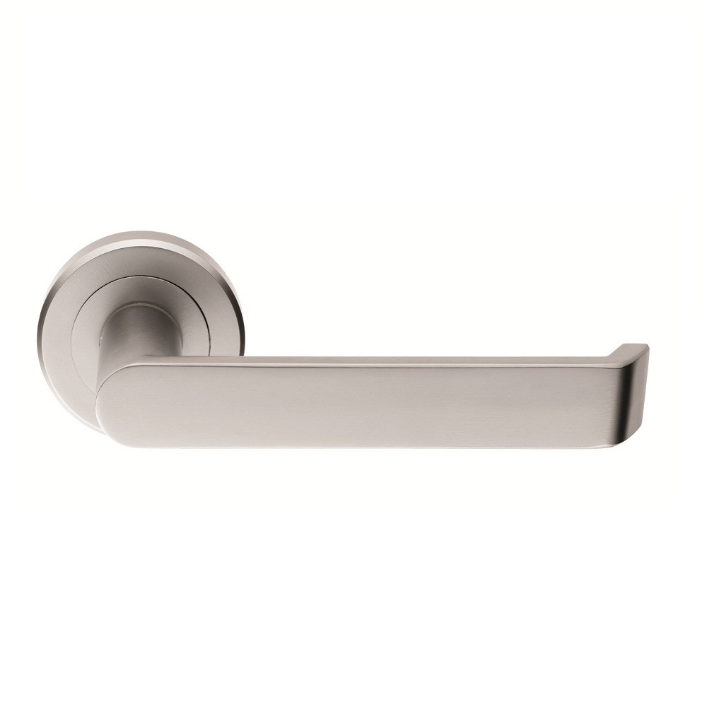 Carlisle Brass Serozzetta Concept Lever Handles on Round Rose - Satin Chrome