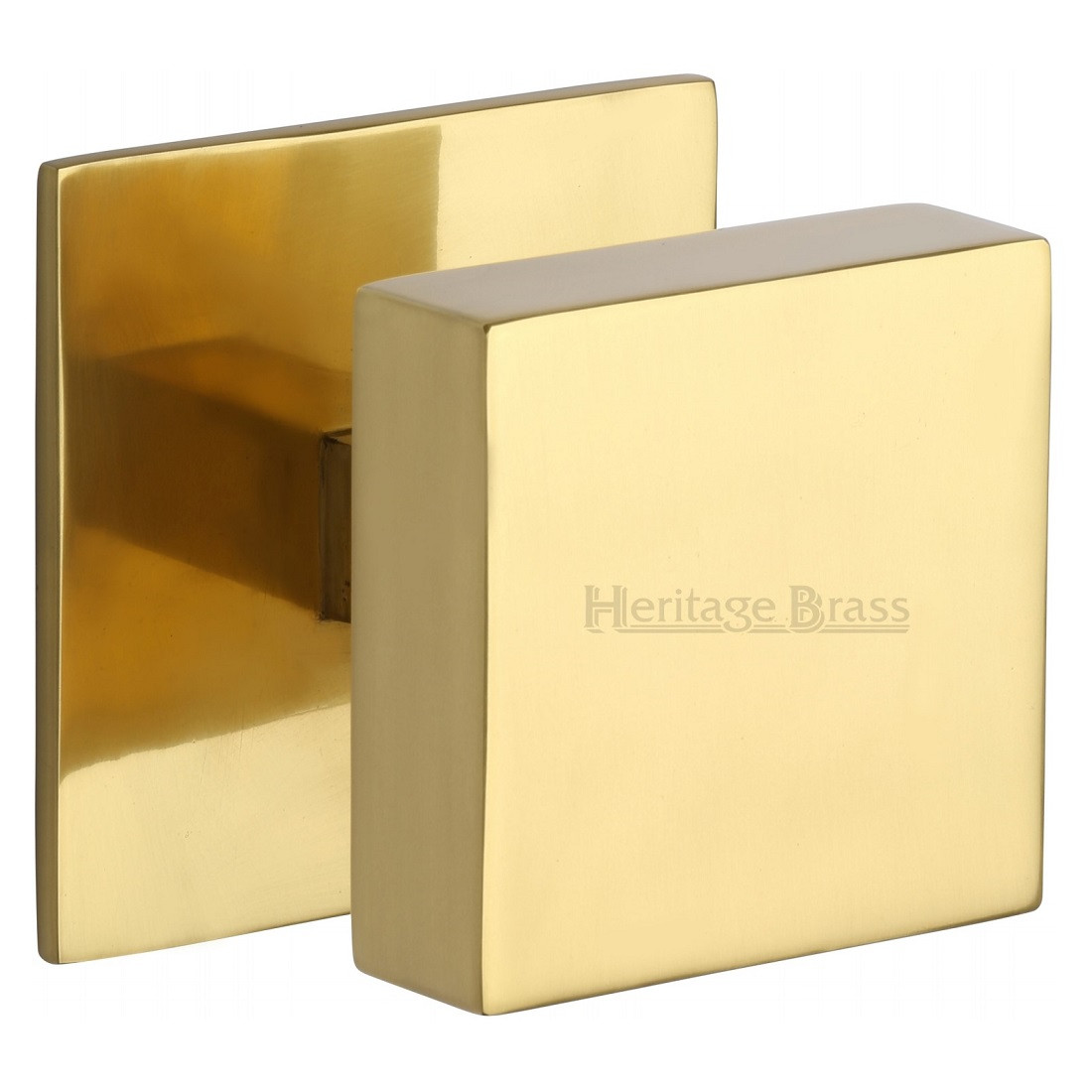 Marcus Square Centre Door Knob - Polished Brass