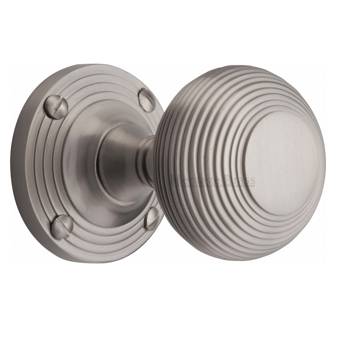 M Marcus Reeded Mortice Knob Handles On Round Rose Satin
