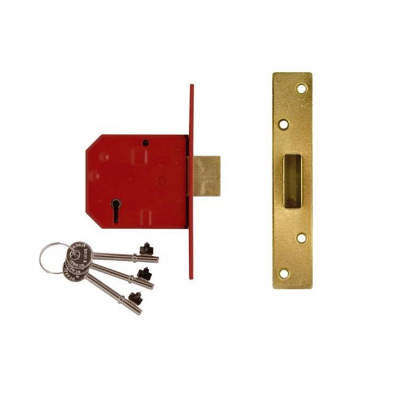 "Union 2134E British Standard BS3621 5 Lever Deadlock - 80mm (3"") Case - 57mm Backset  - Brass"