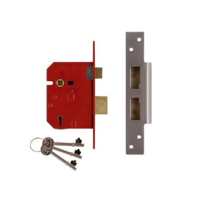 "Union 2234E British Standard BS3621 5 Lever Sashlock - 67mm (2.5"") Case - 45mm Backset - Satin Chrome"