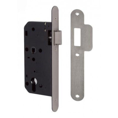 Union 2C24 DIN Style Euro Nightlatch with Radius Forend - 83mm Case - 55mm Backset - SSS