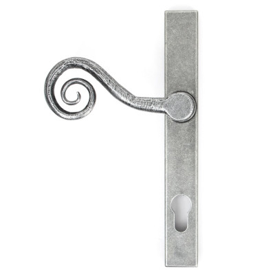 From The Anvil Monkeytail Slimline Left Handed Sprung 92pz Euro Handles For Multi-Point Locks - Pewter