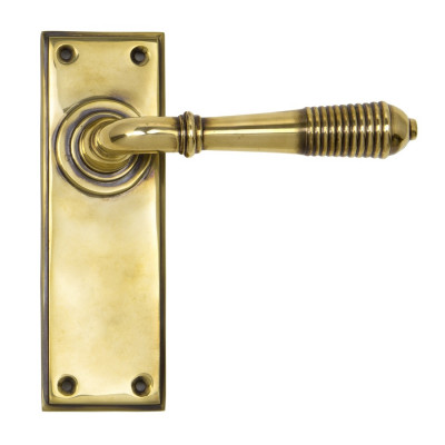 From The Anvil Reeded Latch Handles - Aged Brass