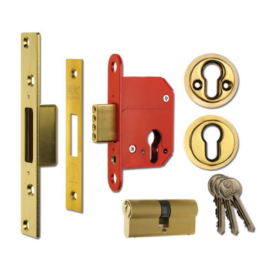 "ERA Fortress 363 British Standard BS3621 Euro Deadlock - 76mm (3"") Case - 57mm Backset - Brass"
