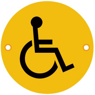 76mmØ Disabled Screw Fix Sign - Polished Brass