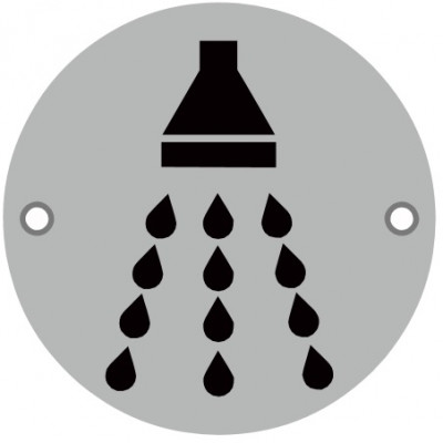76mmØ Shower Screw Fix Sign - SAA
