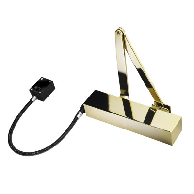 Exidor 9870 EN4 Hold Open / Free Swing E-Mag Door Closer - Square Cover - Polished Brass