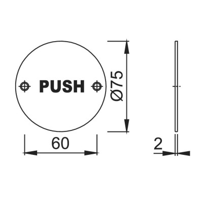 """Hoppe """"Push"""" Sign 76mm - Polished Stainless Steel"""
