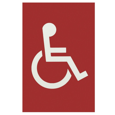 Arrone Nylon Disabled Sign 150mm x 100mm - Red RAL3003