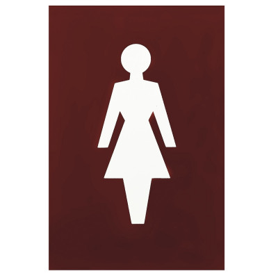 Arrone Nylon Female Sign 150mm x 100mm - Claret (Burgundy) RAL3005