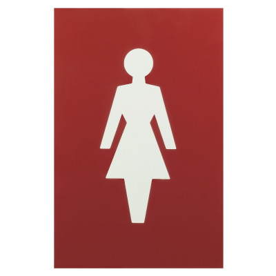 Arrone Nylon Female Sign 150mm x 100mm - Red RAL3003