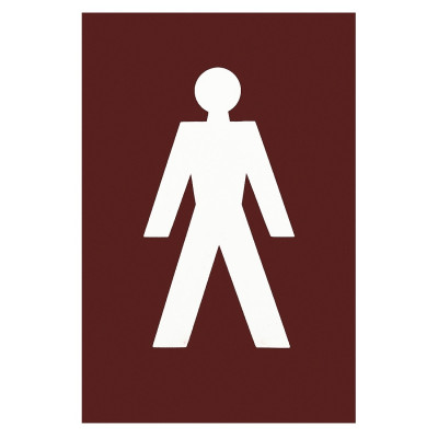 Arrone Nylon Male Sign 150mm x 100mm - Claret (Burgundy) RAL3005