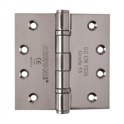 "Arrone 100x100mm (4"" x 4"") Grade 13 Ball Bearing Butt Hinge (pair) - SSS"