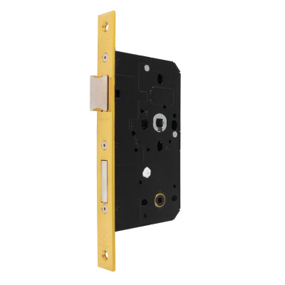 Arrone AR913 DIN Style Bathroom Lock with Square Forend - 88mm Case - 60mm Backset - PB