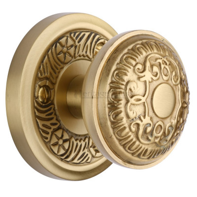 M.Marcus Aydon Mortice Knob Handles on Round Rose - Satin Brass