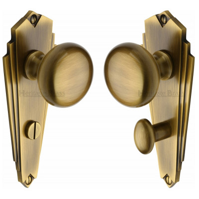 M.Marcus Broadway Bathroom Handles - Antique Brass