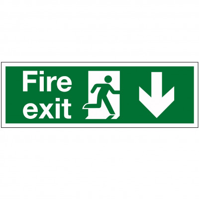 "450x150mm ""Fire Exit"" Running Man/Arrow Down Sign - Rigid Plastic"