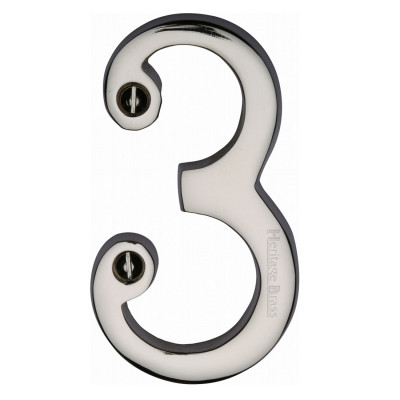 """M.Marcus Screw Fixing Numeral '3' 76mm (3"""") - Polished Nickel"""