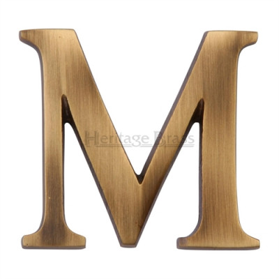"""M.Marcus Pin Fixing Letter 'M' 51mm (2"""") - Antique Brass"""