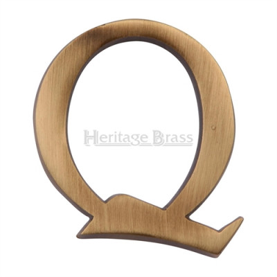 """M.Marcus Pin Fixing Letter 'Q' 51mm (2"""") - Antique Brass"""
