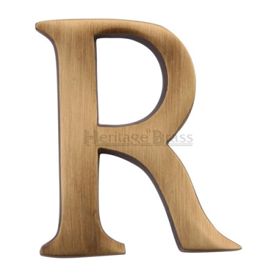 """M.Marcus Pin Fixing Letter 'R' 51mm (2"""") - Antique Brass"""
