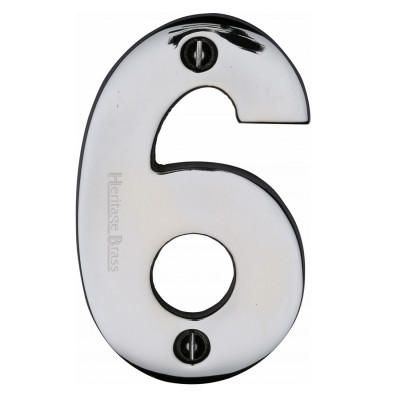 """M.Marcus Screw Fixing Numeral '6' 76mm (3"""") - Polished Chrome"""