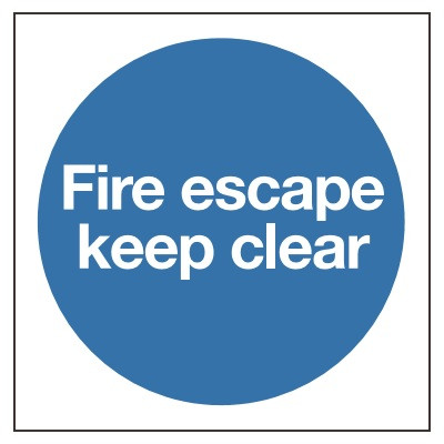 80x80mm Fire Escape Keep Clear Sign - Self Adhesive Vinyl