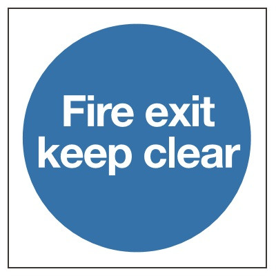 80x80mm Fire Exit Keep Clear Sign - Rigid Plastic