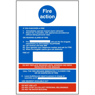 200x300mm Fire Action Sign #1 - Rigid Plastic