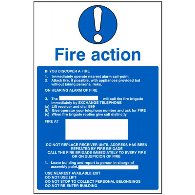 200x300mm Fire Action Sign #2 - Rigid Plastic