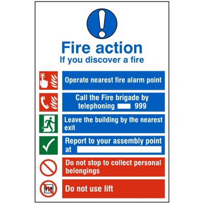 200x300mm Fire Action Sign #3 - Rigid Plastic