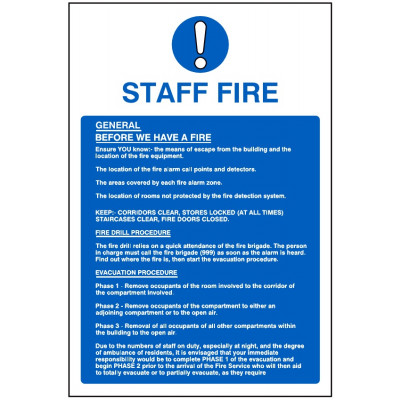 200x300mm Fire Action sign #4 - Rigid Plastic